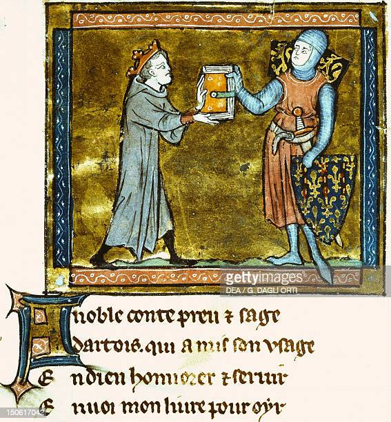 Adenes Le Roi presenting his book to the Count of Artois miniature from a Latin manuscript 13th Century