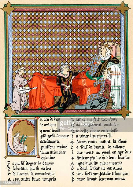 Adenet le Roi 'King of the Minstrels' 13th century Adenet le Roi French poet and musician reciting the Roman de Cleomades to Blanche of Castile wife...