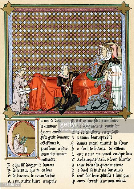 Adenet le Roi 'King of the Minstrels' French poet and musician reciting Roman de Cleomades to Blanche of Castile wife of Louis VIII of France mother...