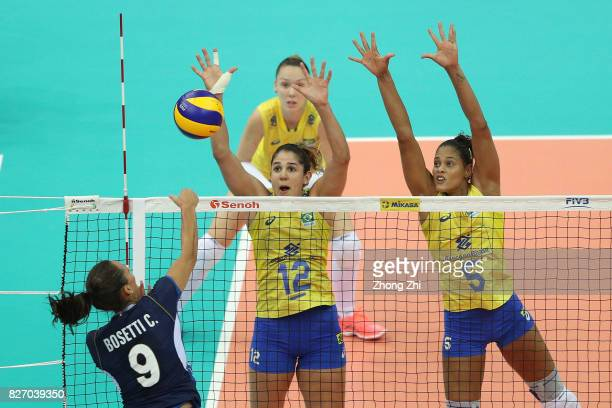 Adenizia Da Silva and Natalia Pereira of Brazil in action during the final match between Brazil and Italy during 2017 Nanjing FIVB World Grand Prix...