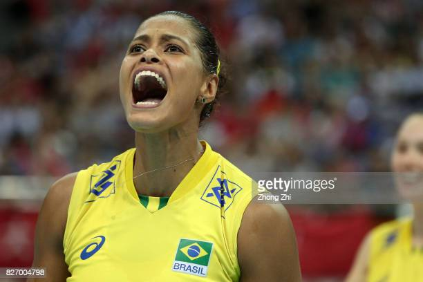 Adenizia Da Silva of Brazil celebrates a point during the final match between Brazil and Italy during 2017 Nanjing FIVB World Grand Prix Finals on...