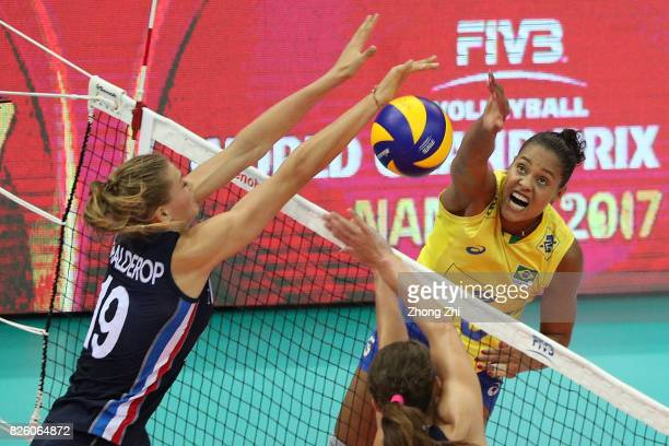 Adenizia Da Silva of Brazil in action during the match between the Netherlands and Brazil during 2017 Nanjing FIVB World Grand Prix Finals on August...