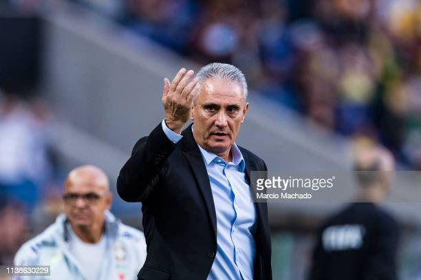 Adenor Bacchi Brazil Head Coach gestures during the International Friendly Match between Brazil and Panama at Estadio do Dragao on March 23 2019 in...