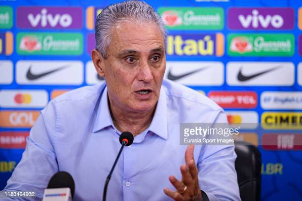 Adenor Bacchi Brazil Head Coach talks during the press conference during the match between Brazil and Korea Republic on November 19, 2019 at Mohammed...