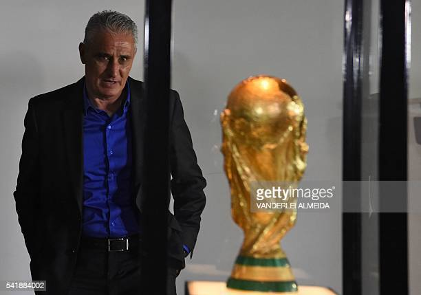Adenor Leonardo Bacchi known as Tite visits the Museum of Football at the headquarters of the Brazilian Football Confederation before offering a...