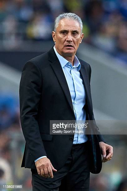 Adenor Leonardo Bacchi 'Tite' the manager of Brazil reacts during the International Friendly match between Brazil and Panama at Estadio do Dragao on...