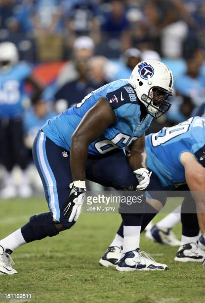 Aderius Simmons of the Tennessee Titans is set in his stance against the New Orleans Saints at LP Field on August 30 2012 in Nashville Tennessee