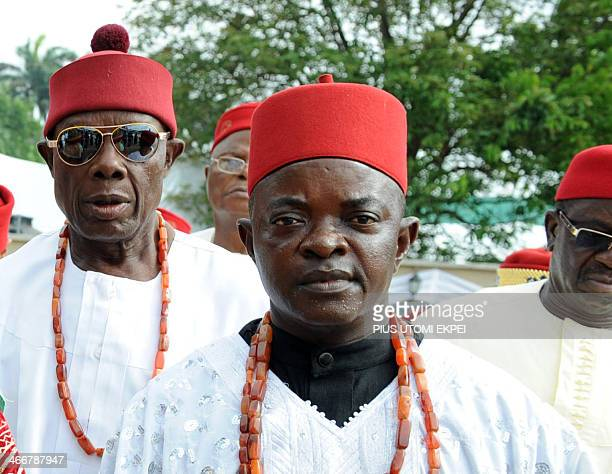Aderogba Obisesa This picture taken on March 1 2012 shows traditional chiefs wearing red fezlike hats widely worn by males monarchs of Igbo ethnic...