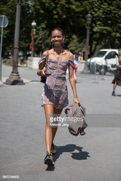 Adesuwa Aighewi after chanel during the Couture Fall 2018 shows on July 3 2018 in Paris France