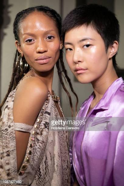 Adesuwa Aighewi and Sohyun Jung are seen backstage ahead of the Blumarine show during Milan Fashion Week Spring/Summer 2019 on September 21 2018 in...