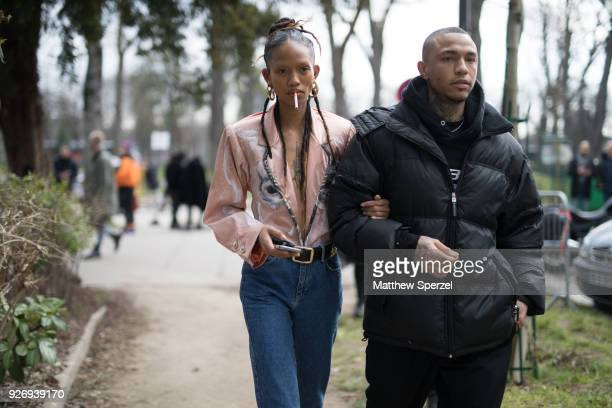 Adesuwa Aighewi is seen on the street attending Vivienne Westwood during Paris Women's Fashion Week A/W 2018 wearing Vivienne Westwood on March 3...