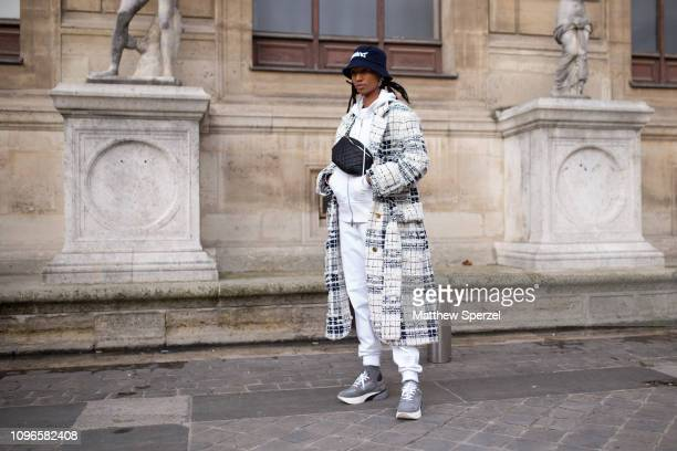 Adesuwa Aighewi is seen on the street during Men's Paris Fashion Week AW19 wearing Thom Browne on January 19 2019 in Paris France
