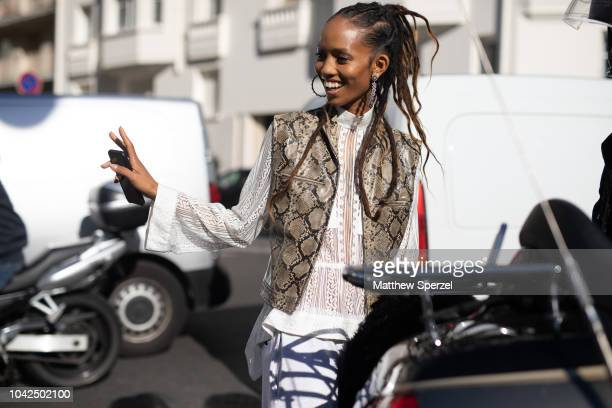 Adesuwa Aighewi is seen on the street during Paris Fashion Week SS19 wearing ChloŽ on September 27 2018 in Paris France