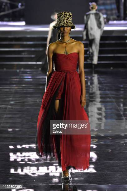 Adesuwa Aighewi walks the CR Runway x LuisaViaRoma at Piazzale Michelangelo during the Pitti Immagine Uomo 96 on June 13 2019 in Florence Italy