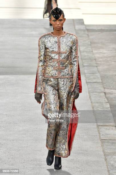 Adesuwa Aighewi walks the runway during the Chanel Haute Couture Fall Winter 2018/2019 show as part of Paris Fashion Week on July 3 2018 in Paris...