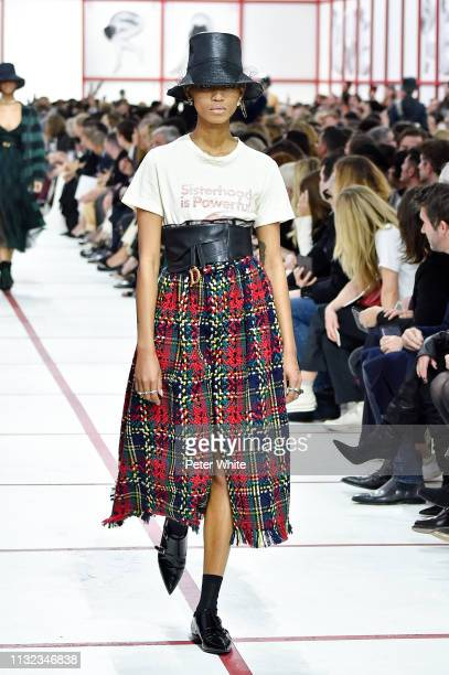 Adesuwa Aighewi walks the runway during the Christian Dior show as part of the Paris Fashion Week Womenswear Fall/Winter 2019/2020 on February 26...