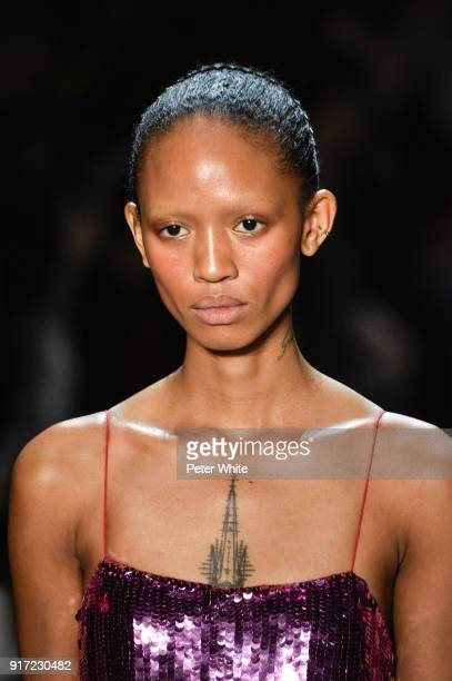 Adesuwa Aighewi walks the runway during the Prabal Gurung fashion show during New York Fashion Week at Gallery I at Spring Studios on February 11...