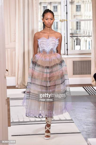 Adesuwa Aighewi walks the runway during the Schiaparelli Spring Summer 2018 show as part of Paris Fashion Week on January 22 2018 in Paris France