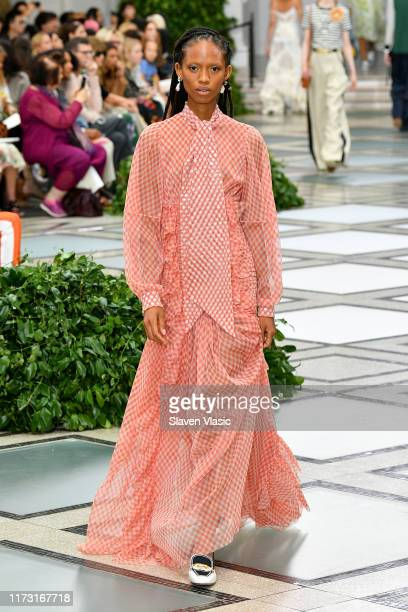 Adesuwa Aighewi walks the runway during Tory Burch NYFW SS20 at the Brooklyn Museum on September 08, 2019 in Brooklyn City.