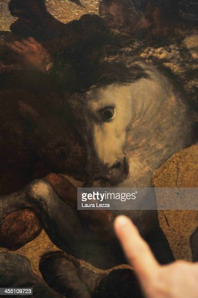 Adetail of the painting entitled 'Tavola Doria' by Leonardo da Vinci is displayed at Biblioteca Nazionale Centrale di Firenze on December 10 2013 in...