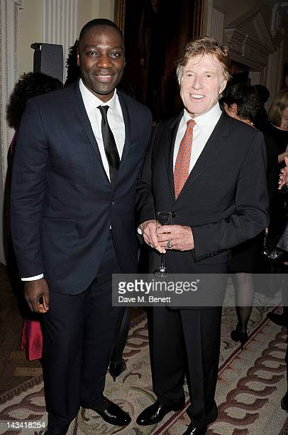Adewale AkinnuoyeAgbaje and Robert Redford attend as Robert Redford launches the inaugural Sundance London Film and Music Festival at the US Embassy...