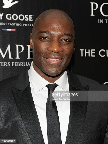 Adewale AkinnuoyeAgbaje attends the Pompeii screening hosted by TriStar Pictures with the Cinema Society and Grey Goose at Crosby Street Hotel on...