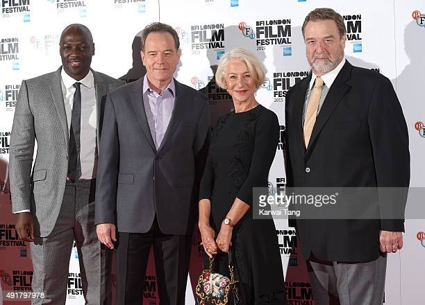 Adewale AkinnuoyeAgbaje Bryan Cranston Dame Helen Mirren and John Goodman attend a photocall for Trumbo during the BFI London Film Festival at...