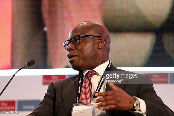 Adewale Tinubu chief executive officer of Oando Plc the biggest indigenous oil and gas producer in Nigeria speaks during a panel session at The...