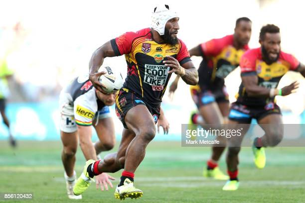 Adex Wera of the Hunters is tackled during the 2017 State Championship Final between the Penrith Panthers and Papua New Guinea Hunters at ANZ Stadium...