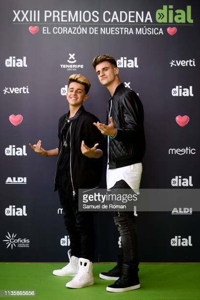 Adexe and Nau attend 'Cadena Dial' Awards 2019 at Recinto Ferial Santa Cruz de Tenerife on March 14 2019 in Tenerife Spain