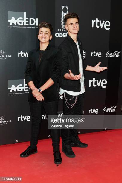Adexe and Nau attend Odeon Awards 2020 at Royal Theater on January 20 2020 in Madrid Spain