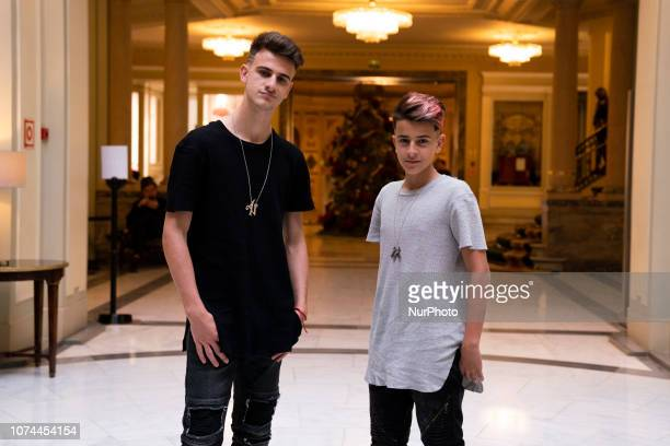 Adexe and Nau pose for the presentation of the concert tour at the Palace Hotel in Madrid on December 20 2018 in Madrid Spain