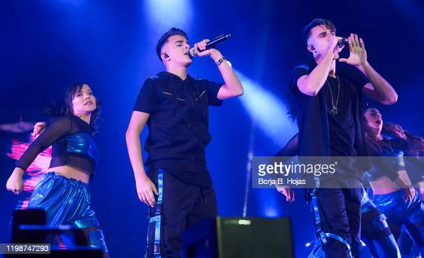 Adexe and Nou perform on stage during concert at Wizink Center on January 10 2020 in Madrid Spain