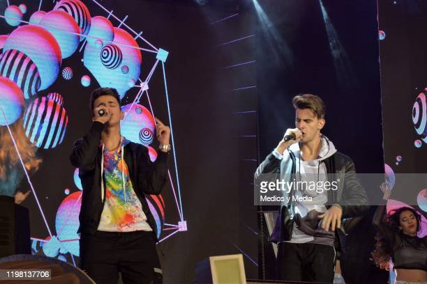 Adexe Gutierrez and his brother Nauzet Gutierrez of the spanic duet Adexe and Nau perform during a concert as part of the 25th anniversary of...
