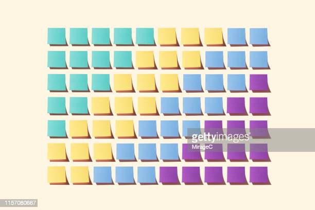adhesive notes collection pattern - organisation stock pictures, royalty-free photos & images