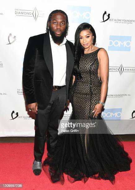 Adhy Money and Karlie Redd attend 6th Annual Diamond Awards at Morehouse College - Ray Charles Performing Arts Center on February 29, 2020 in...