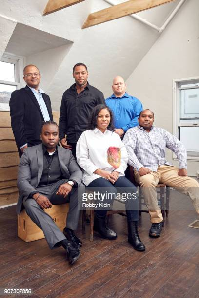 Adhyl Polanco Derrick Walle Edwin Raymond Pedro Serrano Edwin Raymond Felicia Whitely and Richie Baez from the film 'Crime and Punishment' pose for a...