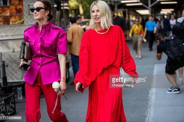 Adi Heyman is seen wearing wearing red knit pleated skirt outside Brock Collection during New York Fashion Week September 2019 on September 11 2019...