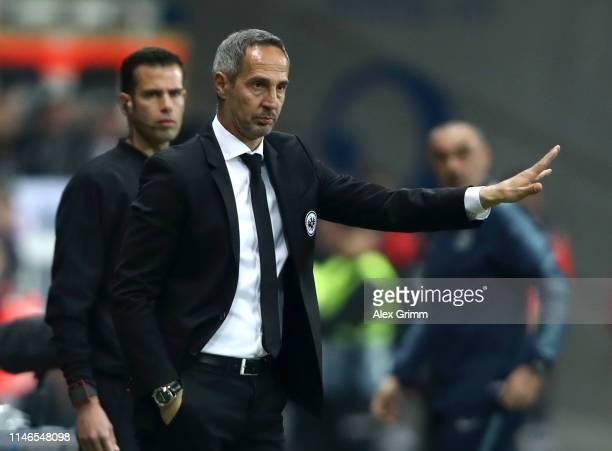 Adi Huetter Manager of Eintracht Frankfurt signals during the UEFA Europa League Semi Final First Leg match between Eintracht Frankfurt and Chelsea...
