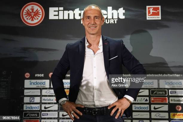Adi Huetter poses during his presentation as new head coach of Eintracht Frankfurt at CommerzbankArena on May 30 2018 in Frankfurt am Main Germany