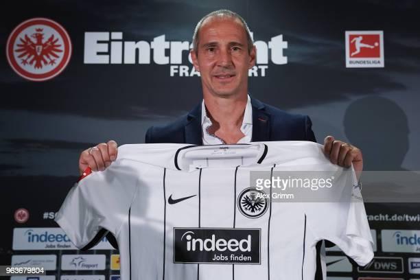 Adi Huetter poses his presentation as new head coach of Eintracht Frankfurt at CommerzbankArena on May 30 2018 in Frankfurt am Main Germany