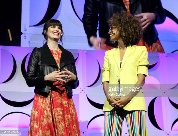 Adi Neumann and Elaine Welteroth at the WeWork San Francisco Creator Awards at Palace of Fine Arts on May 10 2018 in San Francisco California