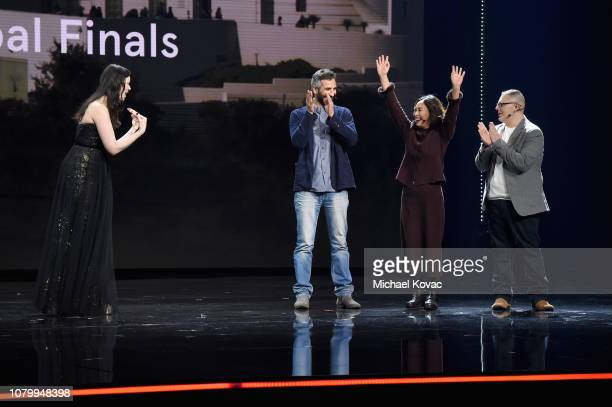 Adi Neumann and Kate Wang speak onstage at WeWork Presents Second Annual Creator Global Finals at Microsoft Theater on January 9 2019 in Los Angeles...