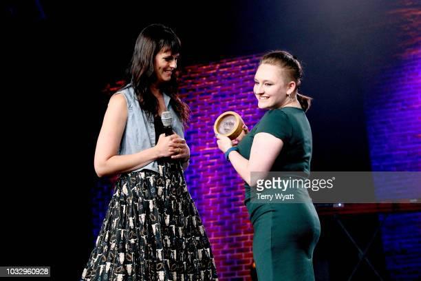 Adi Neumann and Maria Vertkin of Found In Translation speak onstage during Nashville Creator Awards hosted by WeWork at Marathon Music Works on...