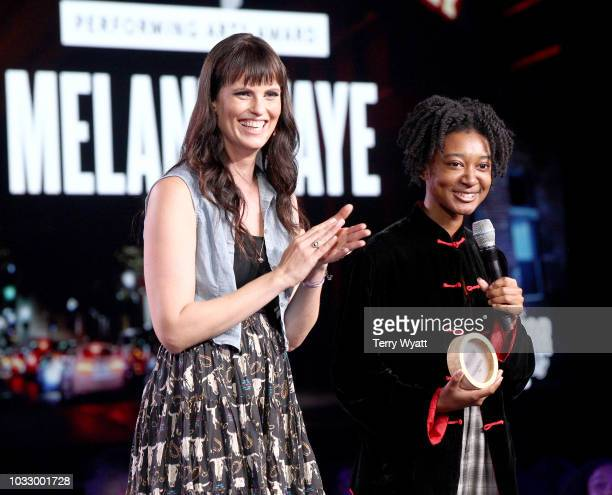 Adi Neumann and Melanie Faye of Performing Artist speak onstage during Nashville Creator Awards hosted by WeWork at Marathon Music Works on September...