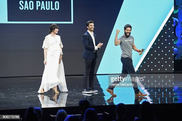 Adi Neumann Justin Baldoni and Felipe Barreiros appear on stage as WeWork presents Creator Awards Global Finals at the Theater At Madison Square...