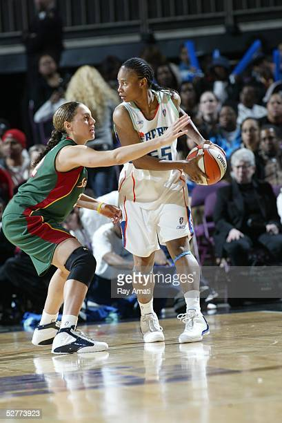 Adia Barnes of the Seattle Storm guards Vickie Johnson of the New York Liberty during the Seattle Storm vs the New York Liberty game on May 7 2005 at...