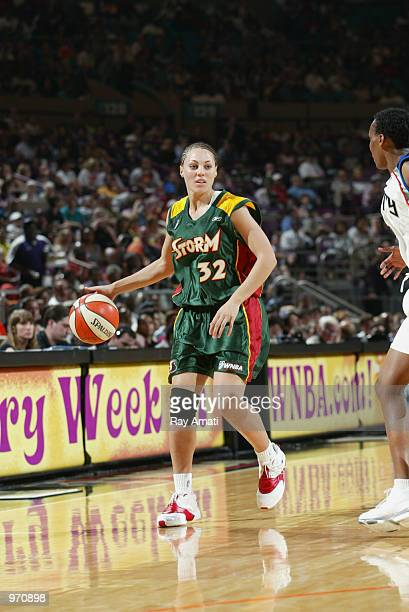 Adia Barnes of the Seattle Storm with the ball during the game against the New York Liberty on July 7 2002 at Madison Square Garden in New York New...