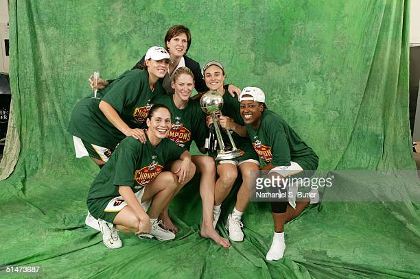 Adia Barnes Sue Bird Lauren Jackson Head Coach Anne Donovan Tully Bevilaqua and Sheri Sam of the Seattle Storm pose for a portrait with the WNBA...