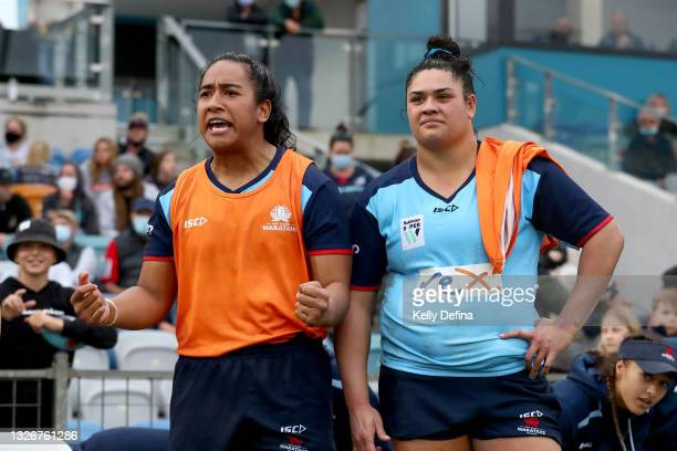 Adiana Talakai of the Waratahs and Eva Karpani of the Waratahs react during the Super W Final match between the NSW Waratahs and the Queensland Reds...